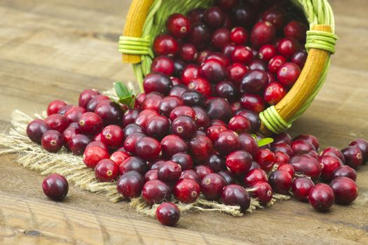 Cranberries in a basket on wooden background.