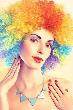 Fashion portrait nude beauty woman.Vivid afro hair