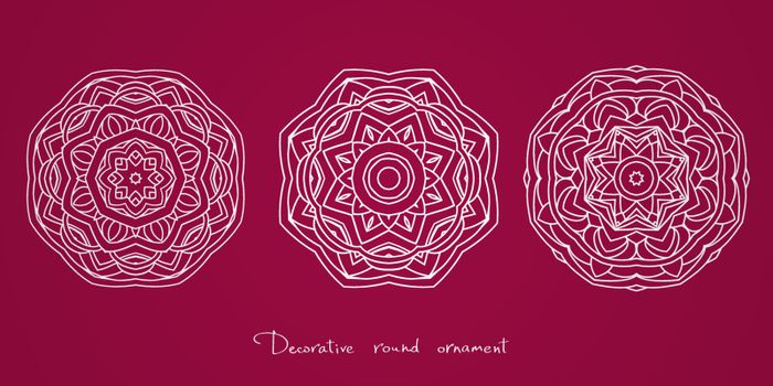 Mandala. Set of ethnic decorative elements. Round ornament with hand drawn vector pattern. Isolated white lace napkin