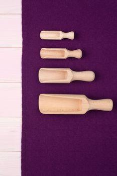 Kitchenware on purple towel
