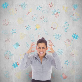 Frustrated businesswoman shouting against white background