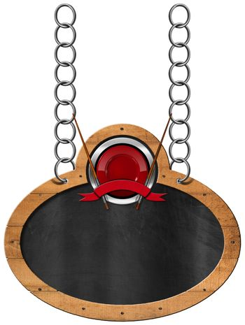 Empty oval blackboard with wooden frame and symbol for an Asian menu. Hanging from a metal chain and isolated on white