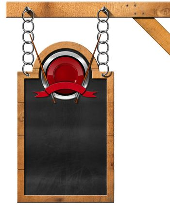 Empty blackboard with wooden frame and symbol for an Asian menu. Hanging from a metal chain on wooden pole and isolated on white