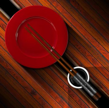 Template for an Asian menu with chopsticks, red plate and a bowl of sauce. On a wooden background with diagonal black band