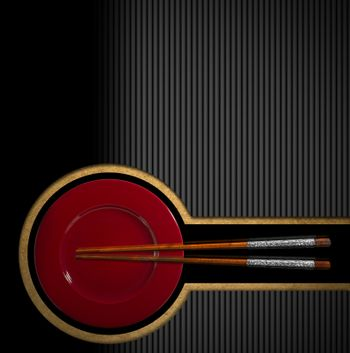 Template for an Asian menu with wooden and silver chopsticks and red plate. On a yellow, black and grey background