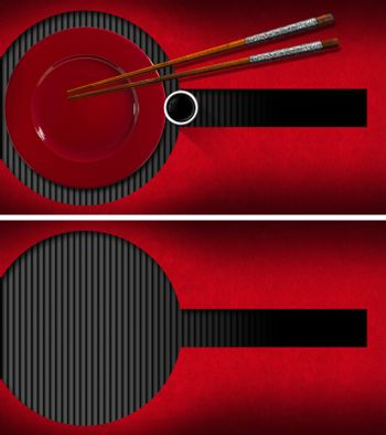 Template for a business card for an Asian restaurant (front and back) with red plate, silver and wooden Chopsticks, a bowl of sauce