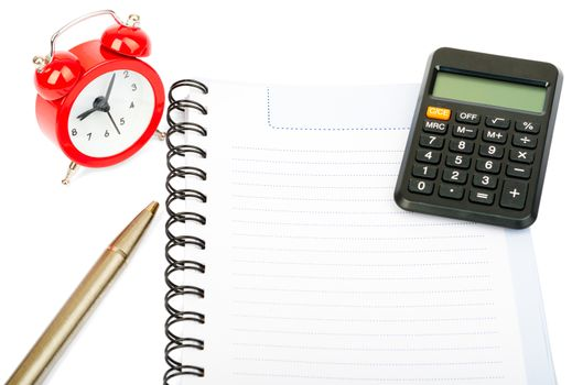 Alarm clock with copybook and calculator