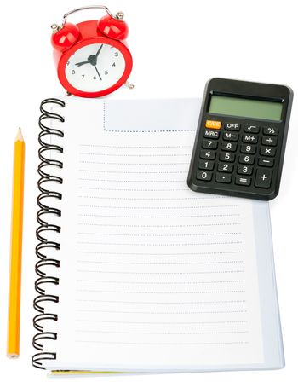 Alarm clock with copybook and pencil
