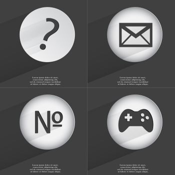 Question mark, Message, Number, Gamepad icon sign. Set of buttons with a flat design. Vector