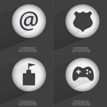 Mail, Police badge, Flag tower, Gamepad icon sign. Set of buttons with a flat design. Vector