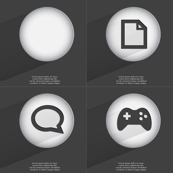 File, Chat bubble, Gamepad icon sign. Set of buttons with a flat design. Vector