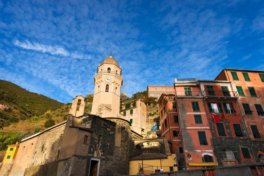 Vernazza village with the church of Santa Margherita di Antiochia. Cinque terre, national park in Liguria Italy. UNESCO world heritage site