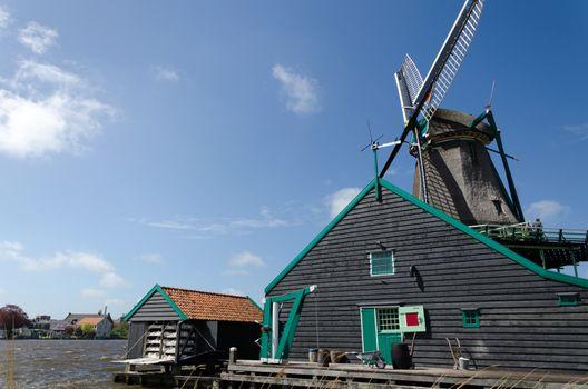Wind mill with rural house of Zaanse Schans