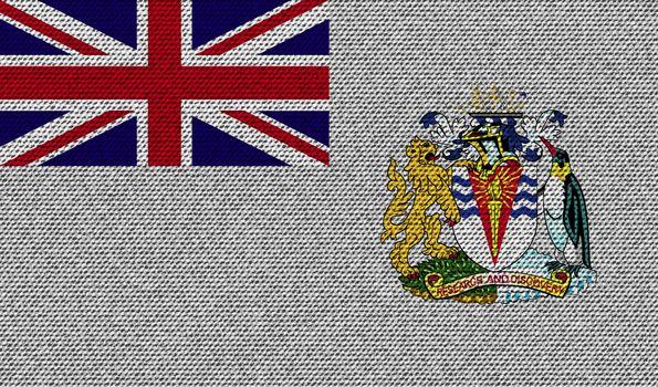 Flags British Antarctic Territory on denim texture. Vector