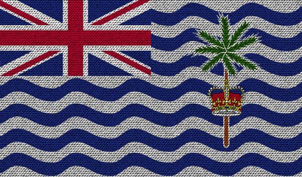 Flags British Indian Ocean Territory on denim texture. Vector