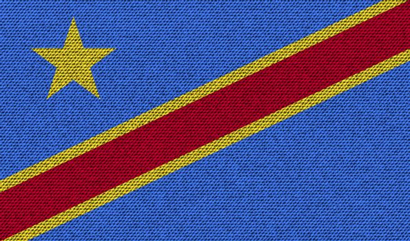 Flags Congo Democratic Republic on denim texture. Vector