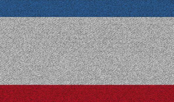 Flags Crimea on denim texture. Vector