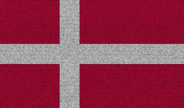 Flags Denmark on denim texture. Vector