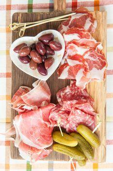 Selection of hams and salami