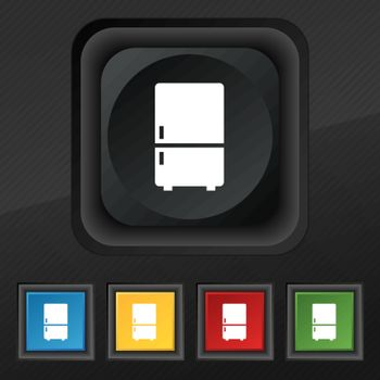 Refrigerator icon symbol. Set of five colorful, stylish buttons on black texture for your design. Vector