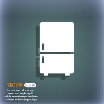 Refrigerator icon. On the blue-green abstract background with shadow and space for your text. Vector