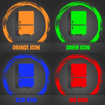 Refrigerator icon. Fashionable modern style. In the orange, green, blue, red design. Vector