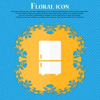 Refrigerator icon. Floral flat design on a blue abstract background with place for your text. Vector
