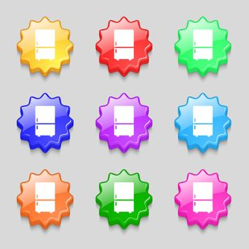 Refrigerator icon sign. symbol on nine wavy colourful buttons. Vector