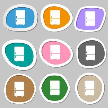 Refrigerator symbols. Multicolored paper stickers. Vector
