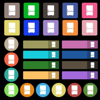 Refrigerator icon sign. Set from twenty seven multicolored flat buttons. Vector