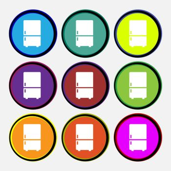 Refrigerator icon sign. Nine multi colored round buttons. Vector