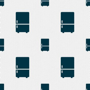 Refrigerator icon sign. Seamless pattern with geometric texture. Vector