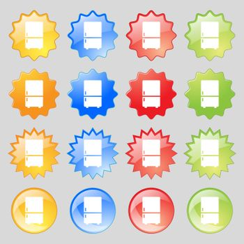Refrigerator icon sign. Big set of 16 colorful modern buttons for your design. Vector