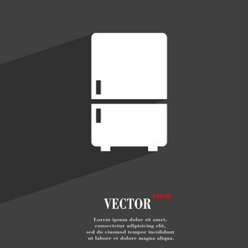 Refrigerator symbol Flat modern web design with long shadow and space for your text. Vector