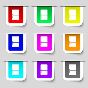Refrigerator icon sign. Set of multicolored modern labels for your design. Vector