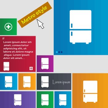 Refrigerator icon sign. buttons. Modern interface website buttons with cursor pointer. Vector
