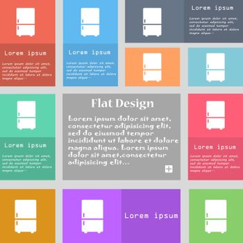 Refrigerator icon sign. Set of multicolored buttons with space for text. Vector