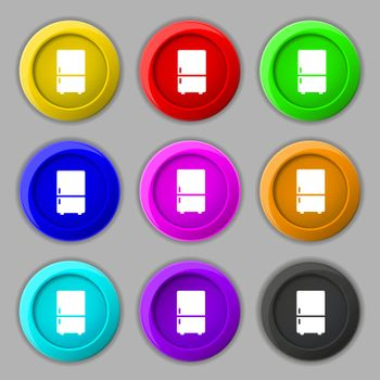 Refrigerator icon sign. symbol on nine round colourful buttons. Vector