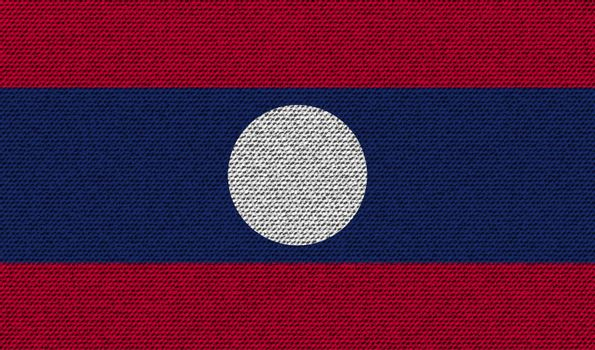 Flags Laos on denim texture. Vector