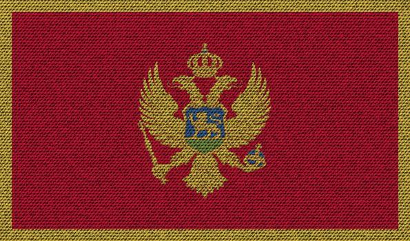 Flags Montenegro on denim texture. Vector
