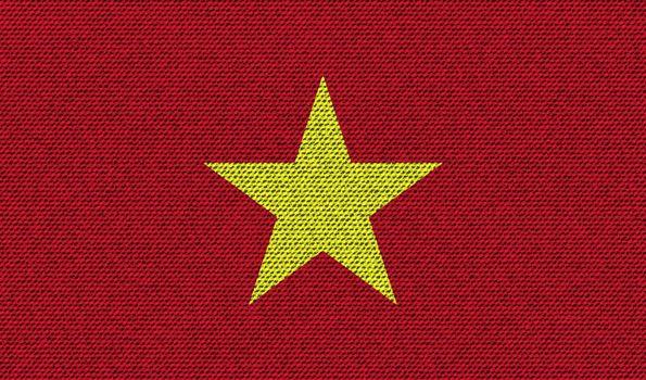 Flags Vietnam on denim texture. Vector
