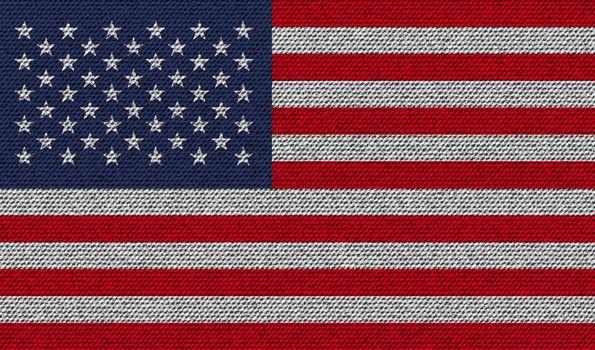 Flags USA on denim texture. Vector