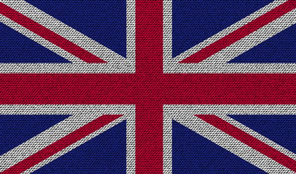 Flags United Kingdom on denim texture. Vector