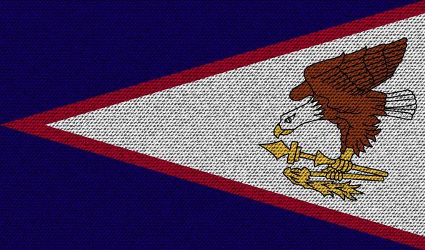 Flags American Samoa on denim texture. Vector