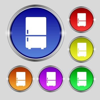Refrigerator icon sign. Round symbol on bright colourful buttons. Vector