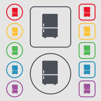 Refrigerator icon sign. symbol on the Round and square buttons with frame. Vector