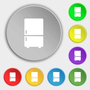 Refrigerator icon sign. Symbol on eight flat buttons. Vector