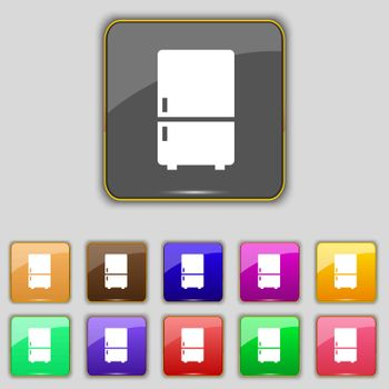 Refrigerator icon sign. Set with eleven colored buttons for your site. Vector