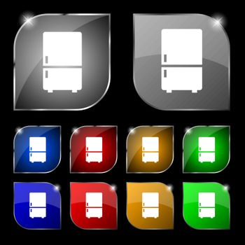 Refrigerator icon sign. Set of ten colorful buttons with glare. Vector