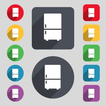 Refrigerator icon sign. A set of 12 colored buttons and a long shadow. Flat design. Vector